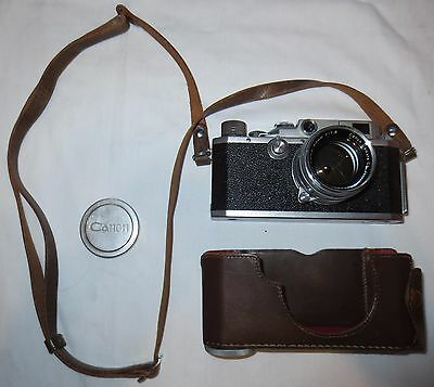 Vintage Canon E-P 50mm Rangefinder Camera, f:1.8 157097 Lens, leather case Japan