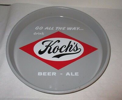 """Kochs 13 """" Vintage Beer Tray Go All The Way Beer - Ale 2 Sided Design"""