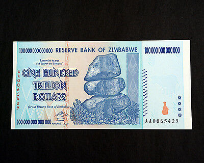 10 banknotes (10 pcs) 100 Trillion Zimbabwe, Uncirculated, Excellent condition