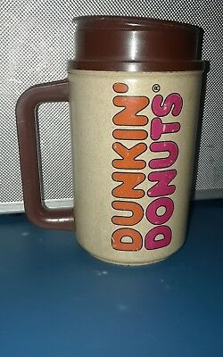 Vintage DUNKIN DONUTS Advertising Travel Mug & Lid HOT COLD THERMO