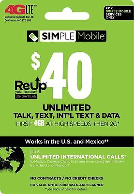 SIMPLE Mobile $40 Monthly Unlimited Plan Refill!