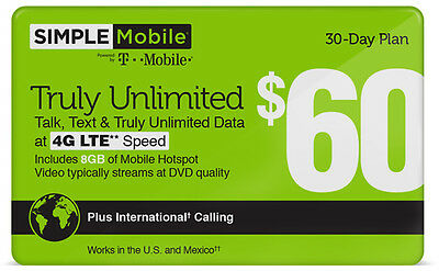 SIMPLE Mobile $60 Monthly Unlimited Plan Refill!
