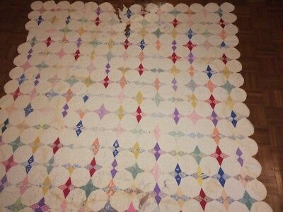 """Vintage Hand Quilt for Repair or Cutter 80"""" X 75"""""""