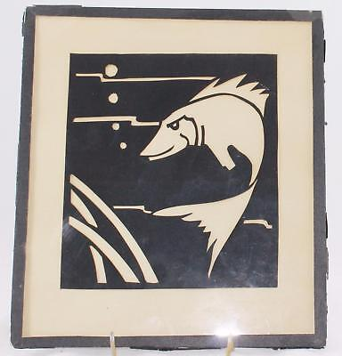 """1930 Silhouette Cutout-Behind Glass 9"""" x 8""""-Signed-Josh P. Roach-Fish In Water"""