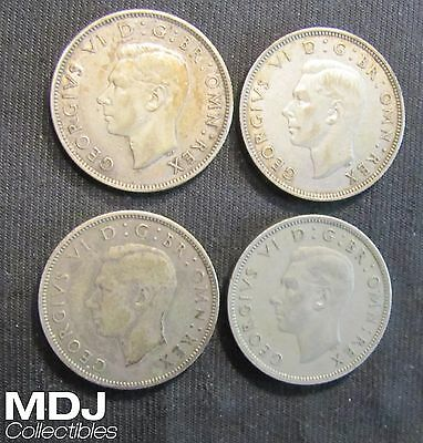 Lot of 4 Great Britain 2 Shillings Coins including Silver - 1937,1939,1944, 1948