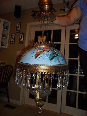 Antique Victorian Hanging Oil/Kerosene Lamp with hand painted floral shade
