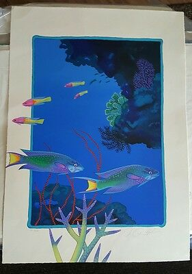 """Unknown Signed Limited Edition """"Fish"""" 22 x 30, NR"""