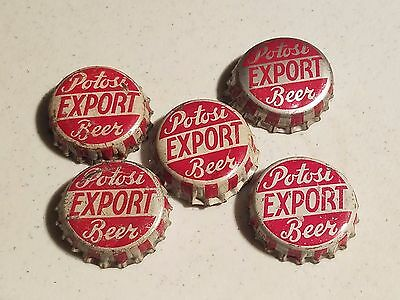 5 Potosi Export beer bottle caps, cork lined