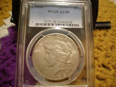 1928 Peace Dollar - Pcgs Au58 - A Slider For Sure - Rare Old Coin - Key Date
