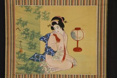 """JAPANESE HANGING SCROLL ART Painting """"Beauty"""" Asian antique  #E7118"""