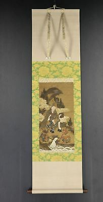JAPANESE HANGING SCROLL ART Painting  Asian antique  #E7124
