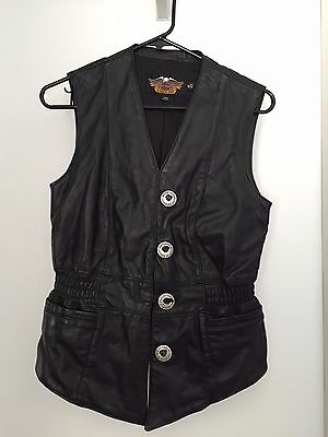 Women's Harley Davidson Motorcycle Black Leather Vest Made in USA Size XS