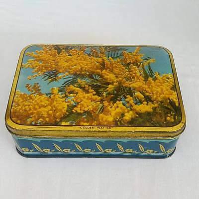 Vintage Sweetacres Golden Wattle Confectionery Chocolate Tin Hinged Collectable
