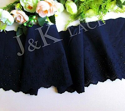 15 cm width Pretty Dark Navy Cotton Embroidery Lace Trim
