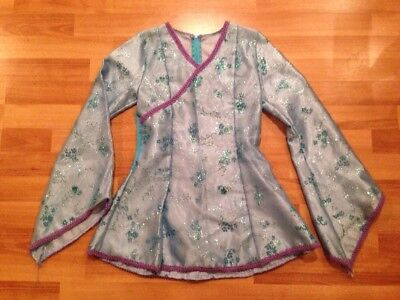 Art Stone Child's L Blue LongSlv Fitted Faux Wrap Blue Sparkle Chinese Dance Top