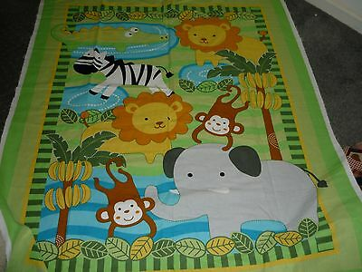 """jungle Animals"" - Cot Quilt Fabric Panel - New"