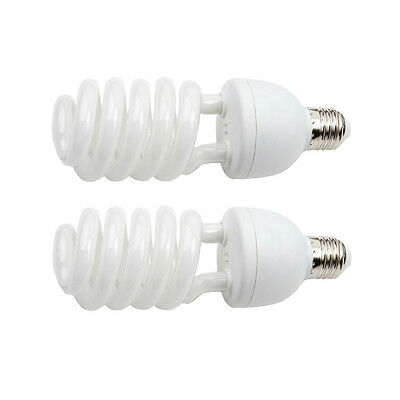 2x 55W E27 5500K Energy Saving Bulb Daylight Photo Studio Lighting Globe Bulbs
