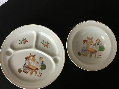 Vintage Retro Ceramic Child's Bowl AND Divided Dish Girls Feeding Teddy Bear