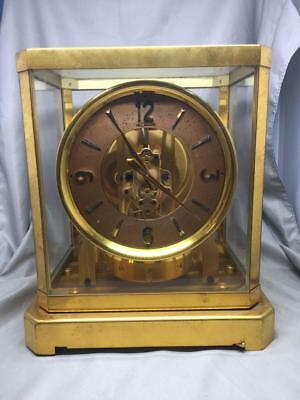 Atmos LeCoultre Clock Movement 519 1950's Model Copper Face Nice Works!