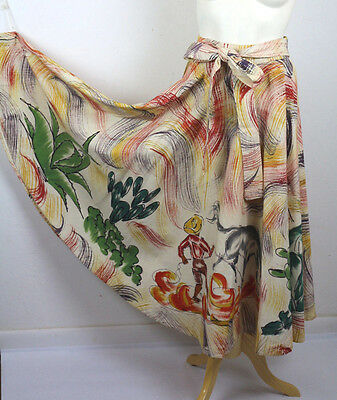 Vintage 50's Mexican Circle Skirt Hand Painted rodeo scene  cactus OOAK