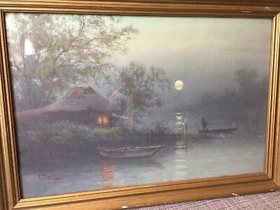 Japanese Watercolor S. Tosuke Moonlight River Scene Vintage Pre War Painting