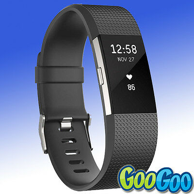 GENUINE Fitbit - FB407SBKL - Charge 2 Fitness Wristband Black - Large