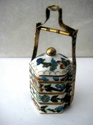 Cloisonne & Enamel Antique Asian Picnic Stacker Basket Miniature