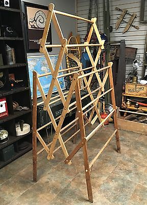 Large Antique Primitive Wooden Folding Herb Tobacco Clothes Drying Rack
