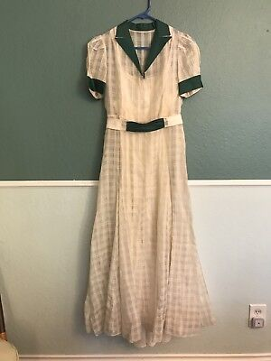 1930's White And Green Plaid Gown With Slip Small