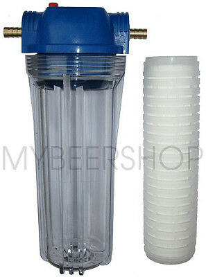 GRAVITY FEED BEER FILTER WITH 12mm BARBS & 1 MICRON CARTRIDGE HOME BREW WATER