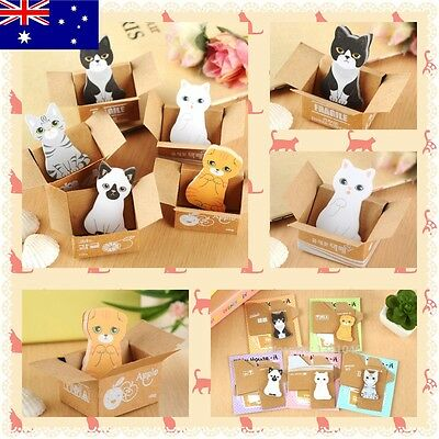 5 Cute Kitten Sticky Memo Pads Cat Note Box Office Stationary Write Bookmark