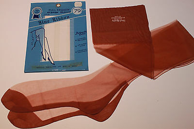 SIZE 10.5x34 LONG 60G-15D SAHARA TAN SEAMED FULL FASHION NYLON STOCKINGS