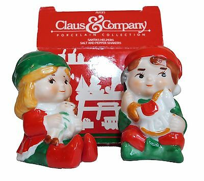 Vintage Christmas Avon Collectable Salt and Pepper Shakers Santa's Helpers Elves