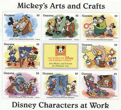 GUYANA DISNEY WORKERS On Stamps MICKEY Mouse ART CRAFT Donald Goofy Pluto Minnie