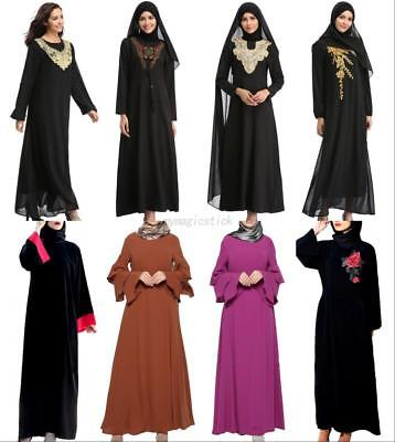 Kaftan Abaya Islamic Muslim Womens Long Sleeve Long Maxi Dress Vintage Robes
