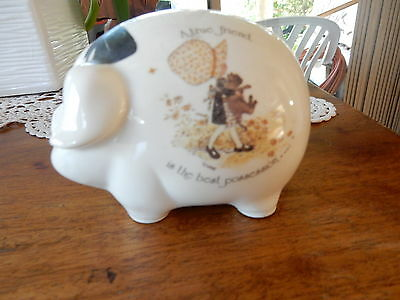 Vintage Holly Hobbie A True Friend Is The Best Possession Pig Money Box