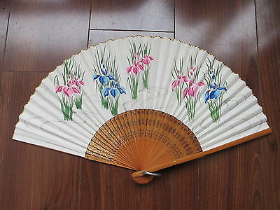 Occupied Japan Vintage Ladies Hand Painted Paper Folding Hand Fan 15 inches