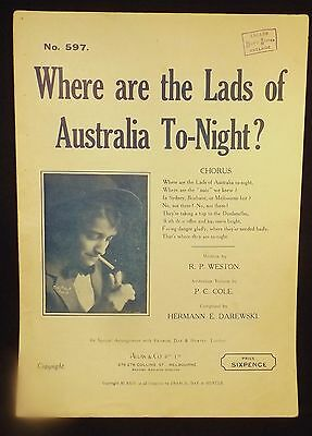 """1915 Ww1 Aust. Patriotic Songs Sheet Music"""" Where Are The Lads Of Aust Tonight?"""""""