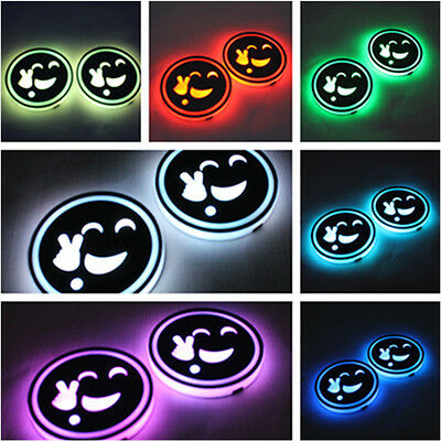 2x 7 Color LED SUV Car Holder Cup Coaster Light Stand Disc USB Rechargeable IP67