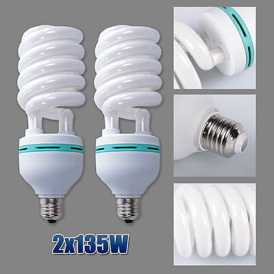 2X135W Day Light Bulb E27 5500K Photo Studio Lighting Compact Fluorescent Globe