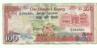100 Rupees 1985-1991 Mauritius Banknote Low Shipping! Combine FREE! (2)