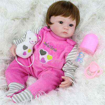 16'' Handmade Lifelike Baby Reborn Toddler Dolls Silicone Vinyl Boy Girl Doll
