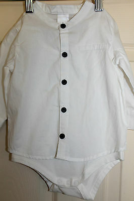 New with Tags baby Boys white bodysuit with  long sleeve shirt attached sz 6-12m