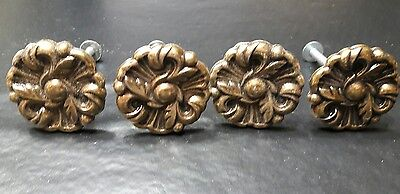 Vintage antique metal Drawer Knobs Pulls Provincial Flower lot of 4 lot 11