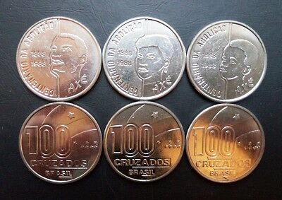 Brazil 3 coins set 1988 100 years of the abolition of slavery (#2940)