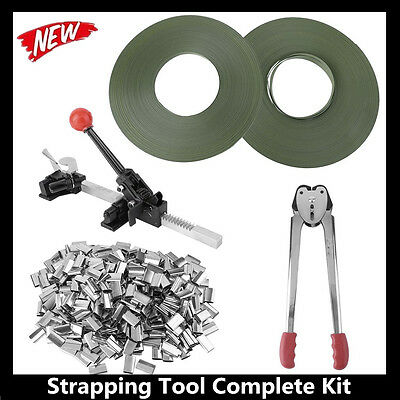 STRAPPING TOOL Complete Kit +Metal Seals + Poly Strap Banding Roll Supply Set B2