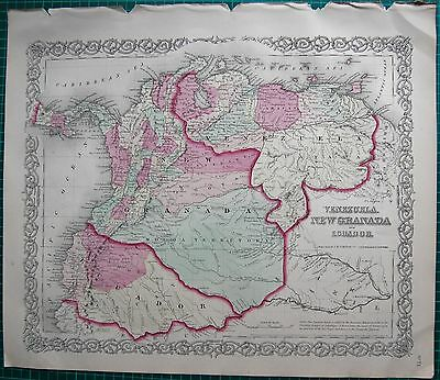 1855 Large Antique Map-Colton- Venezuela,new Granada And Ecuador