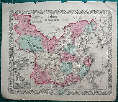 1855 Large Antique Map-Colton- China, Amoy, Canton