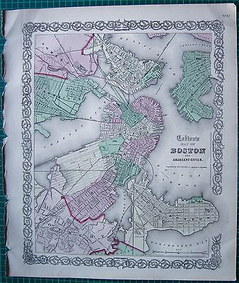 1855 Large Antique Map-Colton- Town Plan, Boston And Adjacent Cities