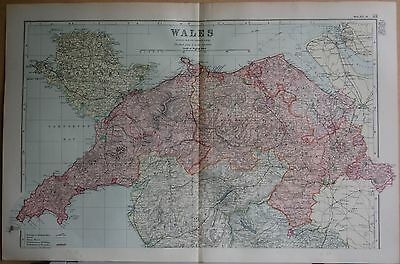 1896 Antique County  Map-  Wales North, Anglesey,Denbigh,Carnarvon,Merioneth